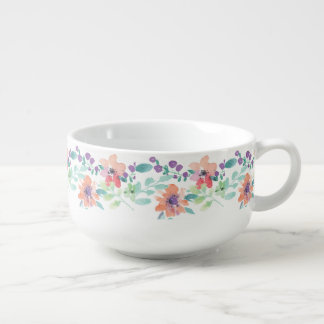 Rustic hand drawn flowers and leaves soup bowl with handle