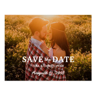 Rustic Hand Lettering Photo Save The Date Postcard