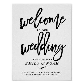 Rustic Hand Lettering Welcome to Our Wedding Poster
