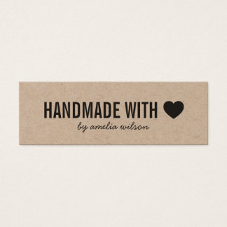 Rustic Handmade with Love Heart Kraft Social Media Mini Business Card