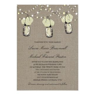 Rustic Hanging Mason Jar Hydrangea Wedding Card