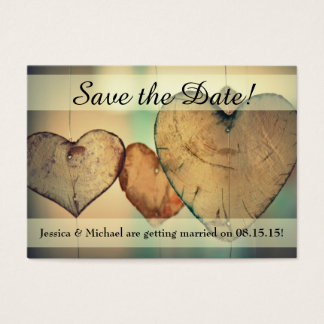Rustic Hanging Wood Hearts Save the Date Bus. Card