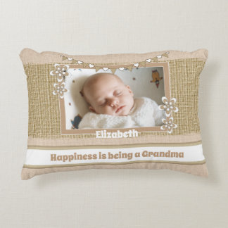 Rustic happiness is being a grandma photo accent pillow