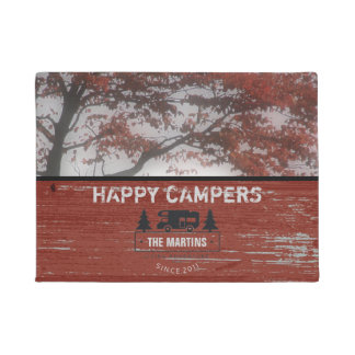 Rustic Happy Campers | Camping RV Family Name Doormat