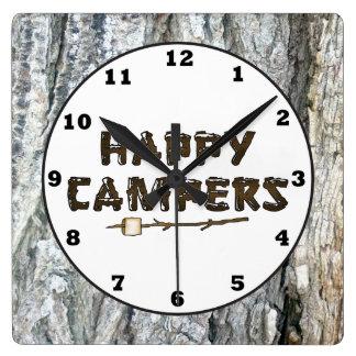 Rustic Happy Campers wall clock