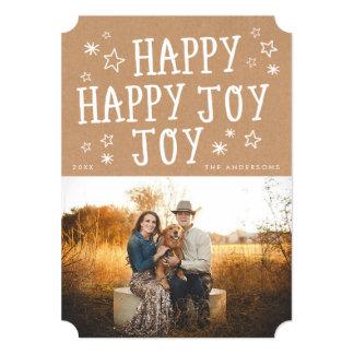 "Rustic Happy Joy Christmas Photo Cards 5"" X 7"" Invitation Card"