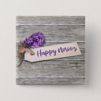 Rustic Happy Norooz Hyacinth - Button