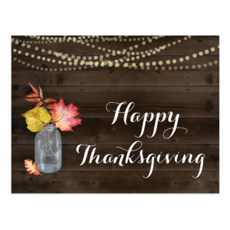Rustic Happy Thanksgiving Postcard
