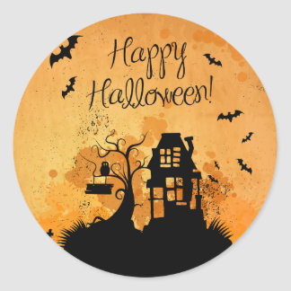 Rustic Haunted House Happy Halloween Classic Round Sticker