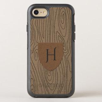 Rustic Hazelnut Wood Pattern Monogram OtterBox Symmetry iPhone 7 Case