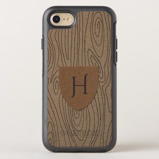 Rustic Hazelnut Wood Pattern Monogram OtterBox Symmetry iPhone 8/7 Case