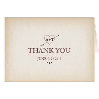 Rustic Heart & Arrow Thank You Card