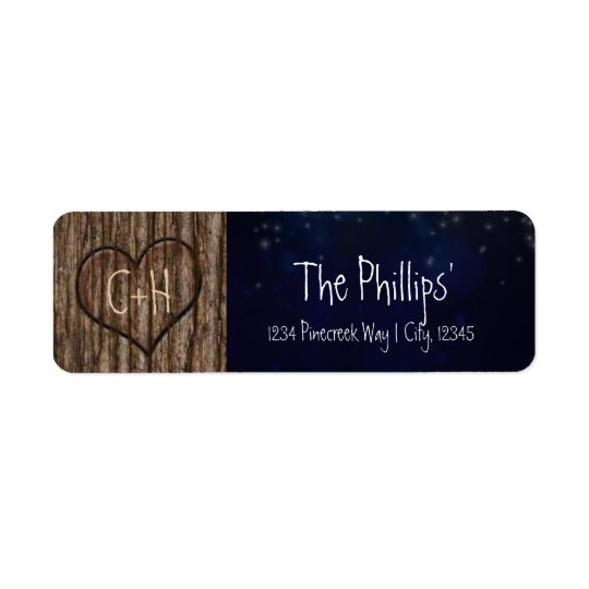 Rustic Heart Carved in Tree Night Address Labels
