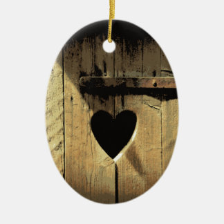 Rustic Heart Carved Wooden Door Rusty Lock Ceramic Oval Ornament