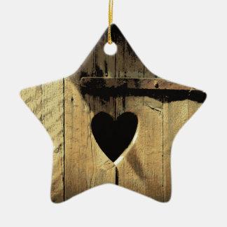 Rustic Heart Carved Wooden Door Rusty Lock Ceramic Star Ornament
