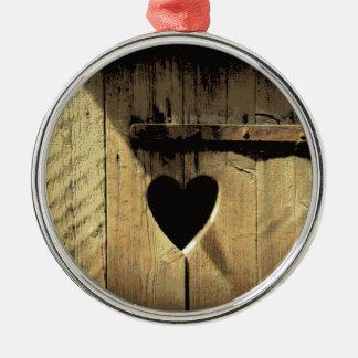 Rustic Heart Carved Wooden Door Rusty Lock Metal Ornament
