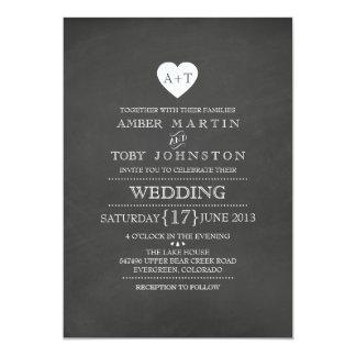 Rustic Heart Chalkboard Wedding Invitation
