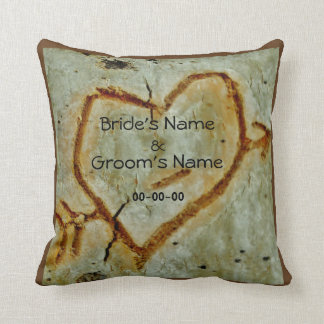 Rustic heart & couples name on Aspen carved heart Throw Pillow