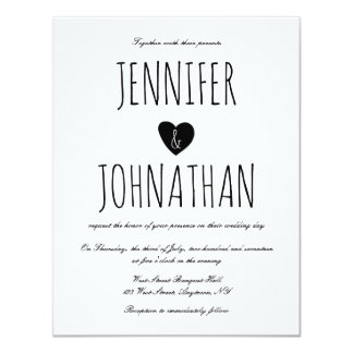 Rustic heart simple wedding invitations