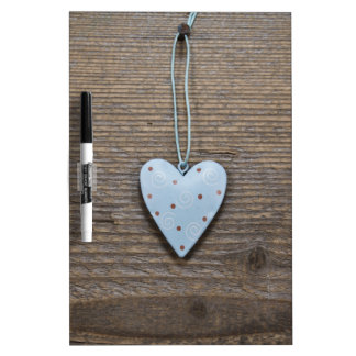 Rustic heart wooden and tin dry erase board
