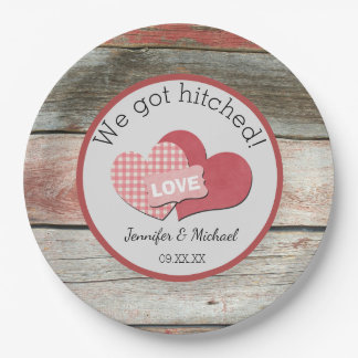 Rustic Hearts and Frame Barn Wedding 9 Inch Paper Plate