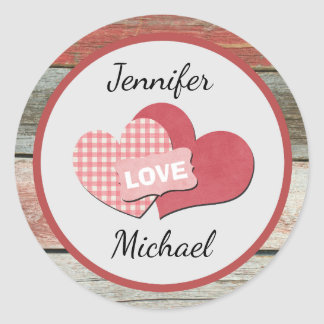 Rustic Hearts and Frame Barn Wedding Classic Round Sticker