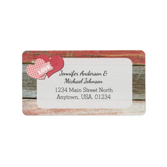 Rustic Hearts and Frame Barn Wedding Label