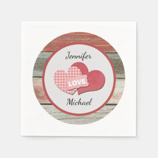 Rustic Hearts and Frame Barn Wedding Paper Napkins
