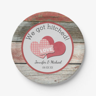 Rustic Hearts and Frame Barn Wedding Paper Plate
