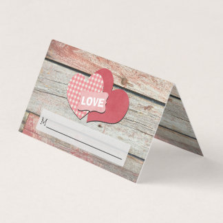 Rustic Hearts and Frame Barn Wedding Place Card