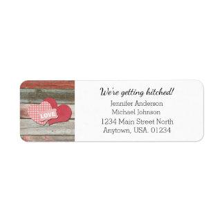Rustic Hearts and Frame Barn Wedding Return Address Label