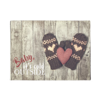 Rustic Holiday Baby It's Cold Outside Winter Doormat