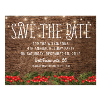 Rustic Holiday Christmas Party Save the Date Postcard