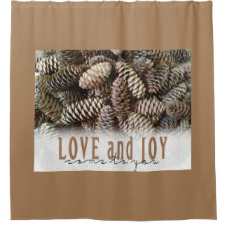 Rustic Holiday Love and Joy Pine Cone