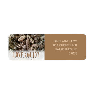 Rustic Holiday Love and Joy Pine Cone Return Address Label