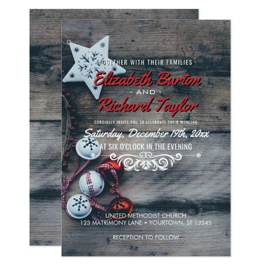 Rustic Holiday Wedding Country Grey Barnwood Card