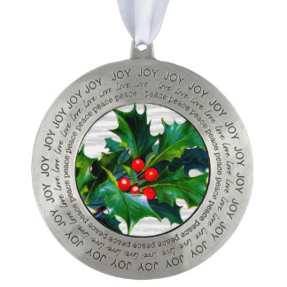 Rustic Holly Berry Christmas Design Holiday Theme Round Pewter Christmas Ornament
