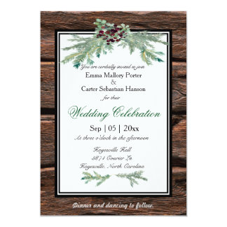 Rustic Holly Tree Branch Winter Wedding Invitation