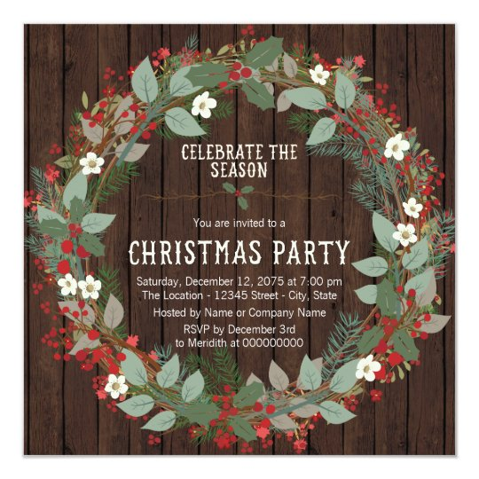 Rustic Holly Wreath Christmas Party Card
