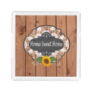 Rustic Home Sayings Design Acrylic Tray