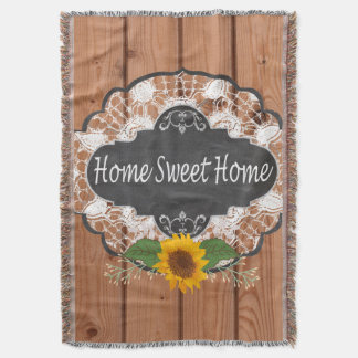 Rustic Home Sayings Design Throw