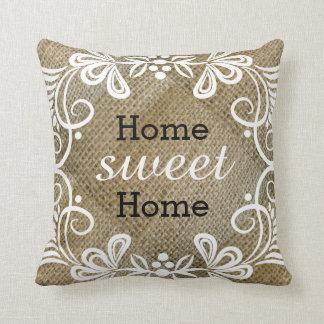 Rustic Home Sweet Home Burlap Pillows