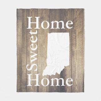 Rustic Home Sweet Home Indiana Barn Wood Fleece Blanket