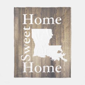 Rustic Home Sweet Home Louisiana Wooden Planks Fleece Blanket