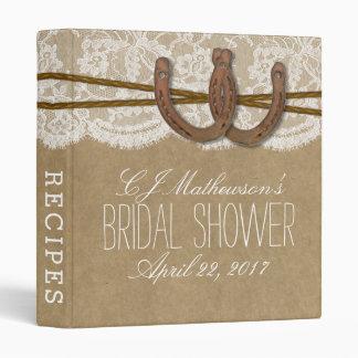 Rustic Horseshoes Bridal Shower Recipe Vinyl Binder
