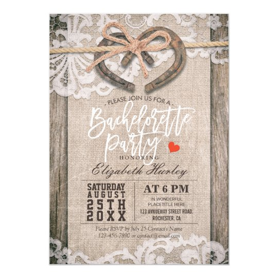 Rustic Horseshoes Burlap Lace Bachelorette Party Card