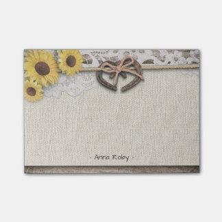 Rustic Horseshoes Burlap Lace Sunflowers Wedding Post-it Notes