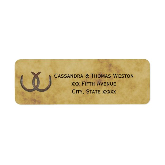 Rustic Horseshoes Distressed BG Return Address Return Address Label