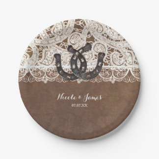 Rustic Horseshoes & Lace Country Wedding Plates