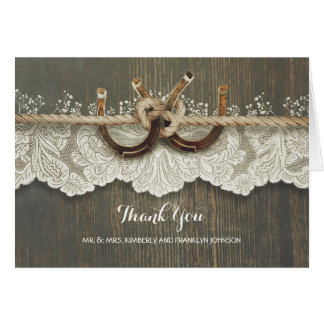 Rustic Horseshoes Lace Wood Wedding Thank You Card